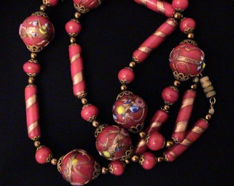 Vintage Raspberry Red Venetian Glass Wedding Cake Bead Necklace
