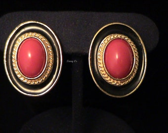Vintage 1970s YSL Yves Saint Laurent Red Glass Cab & Black Enamel Pierced Earrings