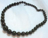 Olive Green Graduated Vintage Bakelite Bead Necklace