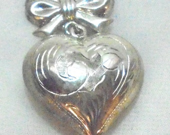 Vintage Engraved Sterling Silver Puffed Heart on Ribbon Pendant