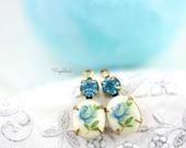 Blue & Aquamarine Swarovski Crystal 18x8mm Set Stones Earring Drops Vintage Oval Rose Flower Stones 1 Ring Brass Prong Settings - 2