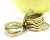 Raw Brass Rings 17mm Circles Links Connectors - 20