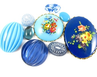 Vintage Flower Cabochons Blue Melon Cab Bouquet - KS37