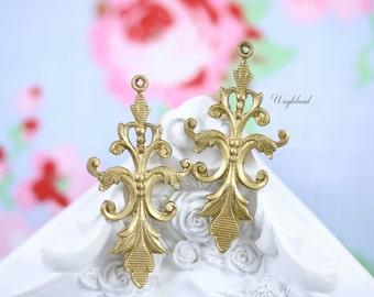 Vintage Style Art Nouveau Raw Brass Floral VIne Charms Pendants Drops - 2