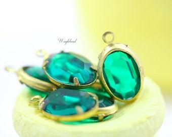 Emerald 12x8mm Vintage Oval Swarovski Stone 1 Ring Brass Channel Drops - 4