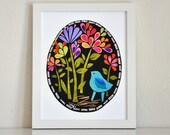 "Bluebird in the Midnight Garden - 8x10"" Print by Megan Jewel Designs"