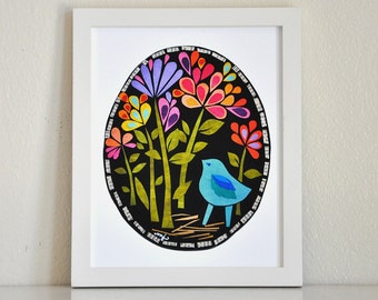 Bluebird in the Midnight Garden, 8x10 Fine Art Print, Megan Jewel Designs, Folk Art Print, Floral Print, Garden Art, Cut Paper, Collage