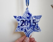 Delft Star ornament - Hand painted  Blue and white heirloom Christmas ornament