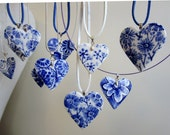 Heart pendant necklace - Hand made and hand painted porcelain Dutch Blue Delftware necklace