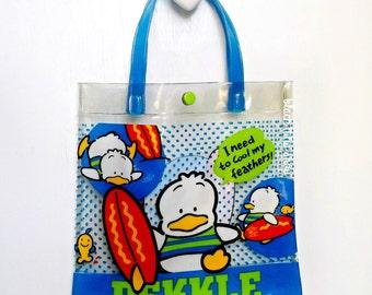 Vintage Sanrio Bag Pekkle Duck Vinyl Tote Bag 90s Sanrio Girls Purse Small Purse Teens