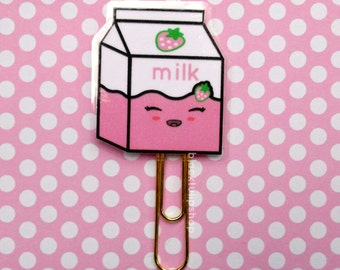 Kawaii Strawberry Milk Paper Clip Pastel Pink Planner Clip Bookmark Cute Strawberry Page Marker