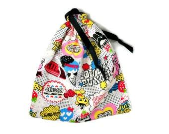 Creepy Cute Pouch Drawstring Bag Pastel Goth Lightweight Drawstring Pouch Pop Cartoon Bag