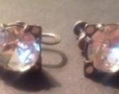 Vintage Sterling and Large Paste Stone Earrings Screw Backs