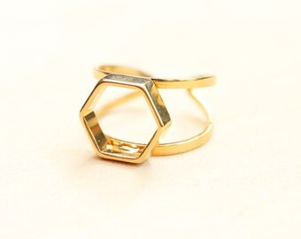 Gold Hexagon Ring, Hexagon Ring, Geometric Ring
