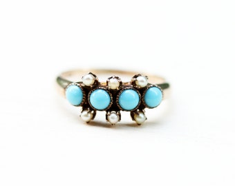 10K Victorian Turquoise and Pearl Ring - Size 5.75