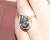 """Sterling Silver Statement Ring, Sparkly Titanium Druzy Item #100111 - """"Bling Ring"""""""