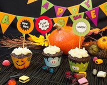 Printable Halloween Monsters cupcake wrappers and toppers zombie, mummy, pumpkin, vampire, skull PP013 instant download