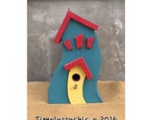 Birdhouse - Bird House - Whimsical Birdhouse - Wooden Birdhouse - Wood Birdhouse -Colorful Birdhouse - Garden - Architectural Birdhouse