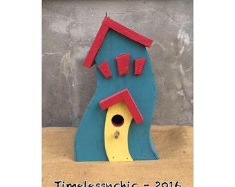Birdhouse - Whimsical - Wooden Birdhouse - Colorful Birdhouse - Garden Decor - Garden Art - Chic
