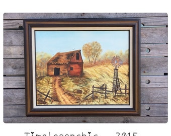 Oil Painting - Oil Painting Landscape - Oil Painting Original - Rural - Barn - Windmill - Chic