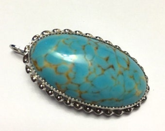 CIJ Sale Turquoise Art Glass Pendant or Brooch Sterling Setting Vintage