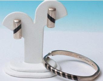 CIJ Sale Taxco Sterling Silver Bracelet Earrings Set Black Insert Vintage
