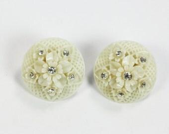 Featherweight Flower Earrings Clear Rhinestones Clip On Vintage Japan