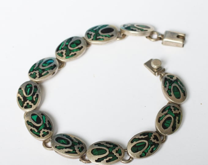 Green and Black Stone Bracelet Southwestern Taxco Mexico Vintage