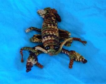 Crochet camo lobster toy