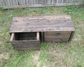 Custom Furniture - Rustic Wood Cubby Organizer - Storage Cube Unit - 2 Cubbies - Bins