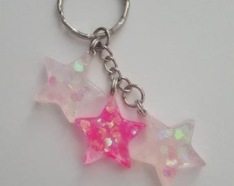 Glitter Resin Charm Keychain - Pink