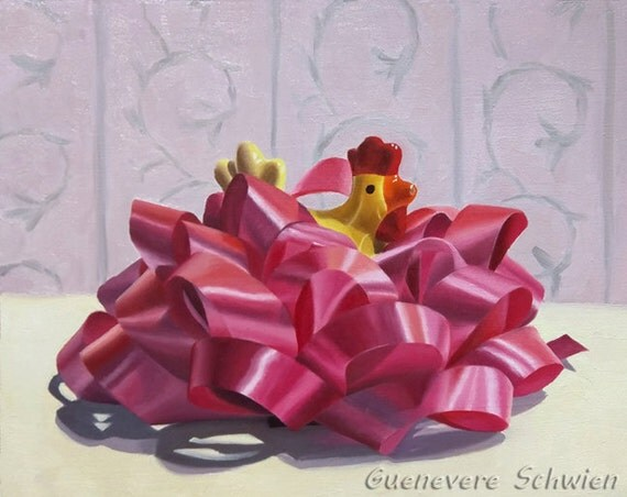 Traveling Chicken by Guenevere Schwien Original Oil Painting