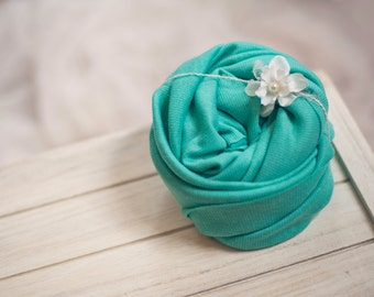 Stretchy Aqua Baby Wrap and Matching Flower Tieback Headband - newborn photo prop