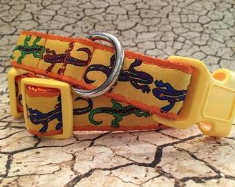 Dog Collar, Gecko Lizard on Orange, Side Release Buckle Style In, M, L, XL
