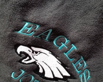 Personalized Philadelphia Eagles Football  Fleece Throw Blanket Boy or Girl Embroidered