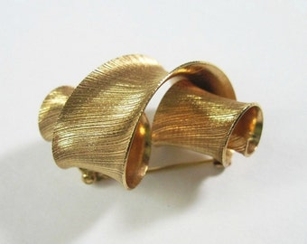 Vintage Napier Brooch Pin - Mid Century Modern - Gold Tone - 1960s -1970s