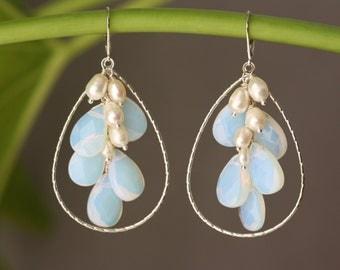 Opal Moonstone Glass, White Pearls, Silver Earrings, Winter Weddings, October Birthstone, White Pearls Earrings, Fall Autumn, Trending Now