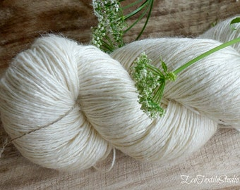 Victorian ramie with wool and silk / knitting and crochet yarn / undyed, natural color / unbleached