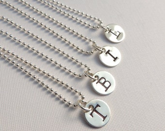 Initial Necklace Sterling Silver Personalized Jewellery Custom Stamped Uppercase Letter Typewriter Font