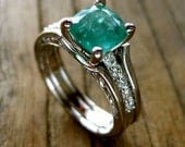 Emerald Engagement Ring with Diamonds in 14K White Gold and Wedding Band Wrap Size 6.25 - RESERVED for Matt