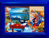 Framed Fine Art Print, Ocean View, Seascape, Birds, Bird Watcher, Picasso, from Original Painting by k Madison Moore