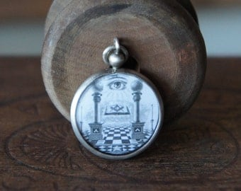 Antique French All Seeing Eye Mystical Hand  Picture Amulet Pendant