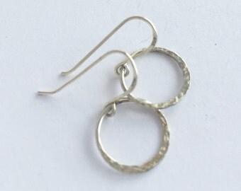 Sterling Hoops, Sterling Silver Forged Hoop Dangle Earrings, Asymmetric Hoops