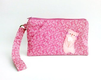Pink floral iPhone 6s plus wristlet cat iPhone pouch clutch wallet for cat lovers gift for mother iPhone purse with strap