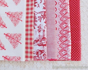 S091 Fabric Scraps Bundle Set -Retro Vintage Red Colorway French Lady Tree Paisley Floral Dots Check Solid Red Collection (6PCS, 9x9 Inches)