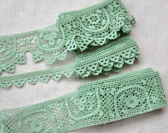Japanese Embroidered Lace Trim - Retro Green Embroidery Chic Elegant Scalloped Shell Wave Floral Flowers(Choose Pattern)