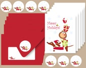 Dachshund Christmas Cards -Holiday Doxie and Friends - Set of 6 Christmas Dog Cards with Envelopes and Stickers