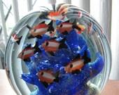 Beautiful Murano Art Glass Fish Paperweight Fish Aquarium / Fish Art Glass Paperweight