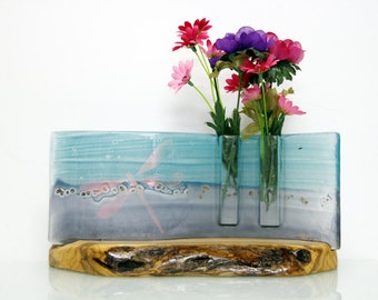 Glass vase, Fused glass Curved vase dwvided to Two vases,Gold Dragonfly, Pastels Blue Purple colors, olive wood basis.