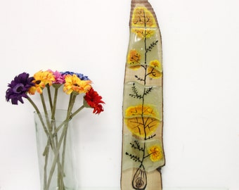Glass  Painting,  Fused glass art, Japanies flowers Wall Decor with a wood back
